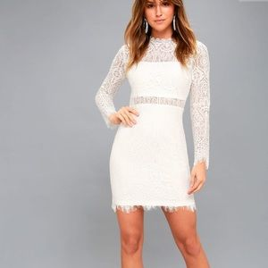 NWT Lulu's White Lace Long Sleeve Dress S ✨